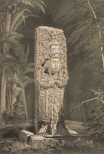 Lithograph of Stela at Copan, Published in 184...