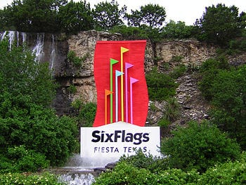 Entrance to Six Flags Fiesta Texas.