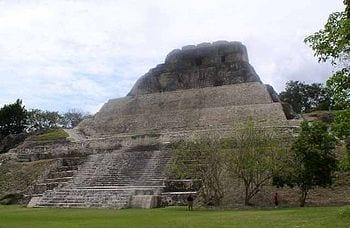 Main temple in Xunantunich, a maya site in Belize