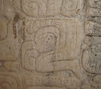 English: Mayan gliph for sacrifice. To let blo...