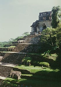 Temple of the Cross at Palenque; there is an i...
