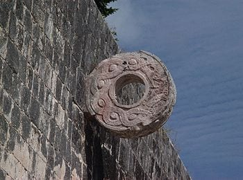 A Goal in the Ball Court at Chichén Itzá, Mexico.